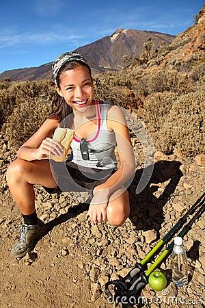 Woman Hiker eating