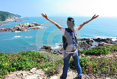 Woman hiker enjoy see