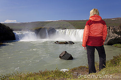 Woman Hiker At Godafoss Waterfall, Iceland