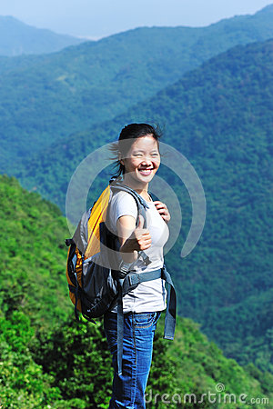Woman hiker in mountain
