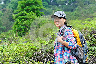 Woman hiker at mountain