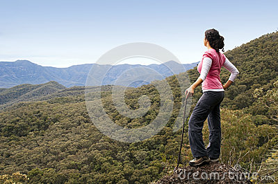 Woman Hiker in Mountains