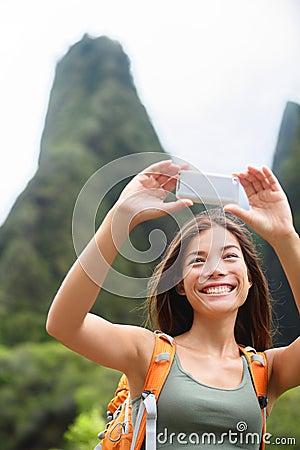 Free Woman Hiker Taking Selfie Photo Hiking On Hawaii Stock Photos - 39847013