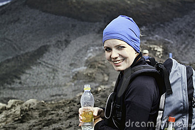 A woman hiking