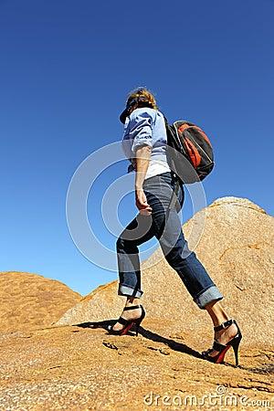 Woman Hiking in High Heels
