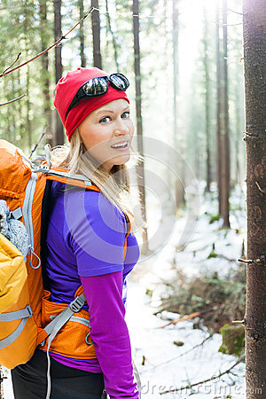Free Woman Hiking In Winter Forest Royalty Free Stock Image - 35278886