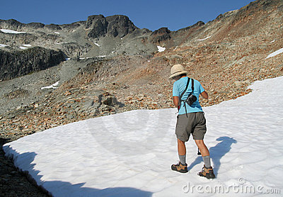 Woman Hiking on Snow in Summer