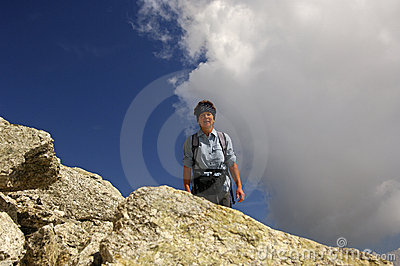 Woman on a hiking tour in the alps