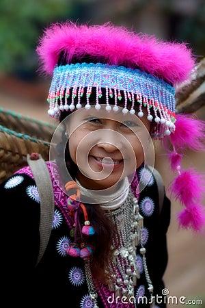 Woman in hill tribe dress