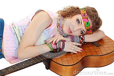 Woman in hippie outfit laying