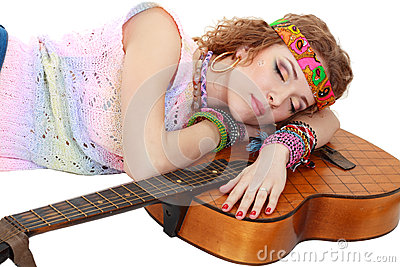 Woman in hippie outfit sleeping