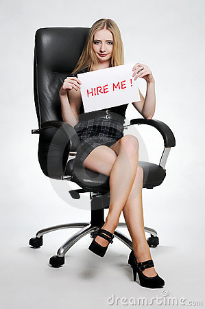 Woman with hire me card