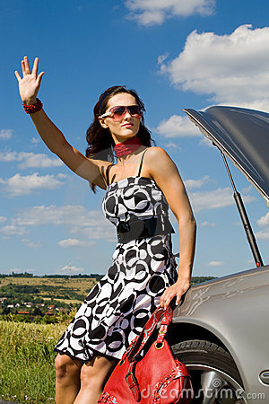 Woman hitch-hiking