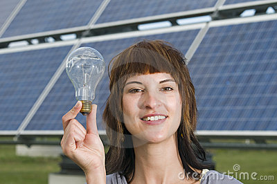 Woman hold the bulb