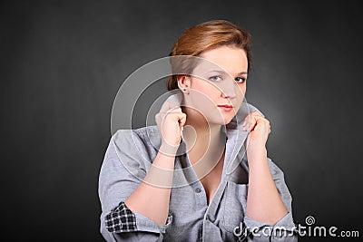 Woman hold collar in photo studio