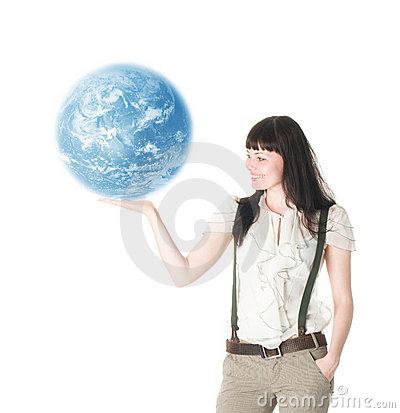 Woman hold  earth