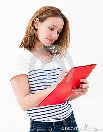 Woman hold a folder
