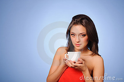 Woman hold hot cup