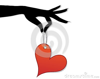 Woman hold  love red heart in hand