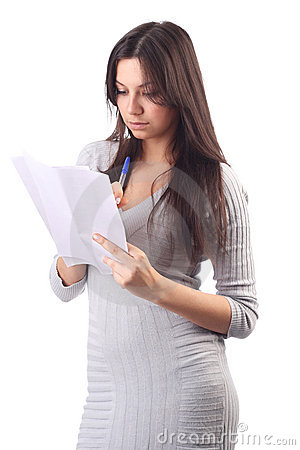 Woman hold pages of paper. Office worker