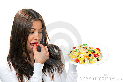 Woman hold plate of diet Italian Shrimp pasta
