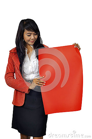 Woman Hold Red Banner