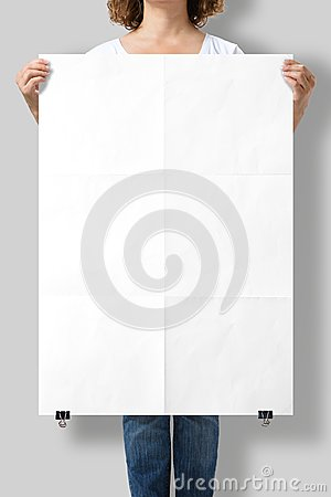Free Woman Holding A Blank A1 Poster Mockup. Stock Image - 101932081