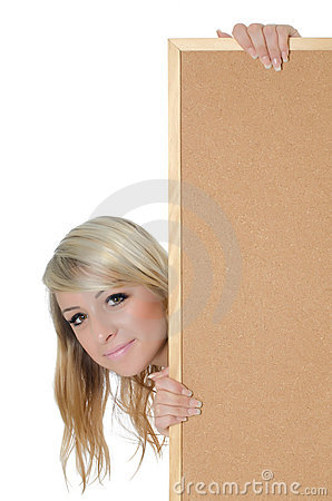 Free Woman Holding A Blank Corkboard Stock Photo - 20279170