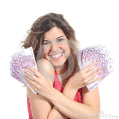 Free Woman Holding A Lot Of Five Hundred Euro Banknotes Royalty Free Stock Photos - 30881628