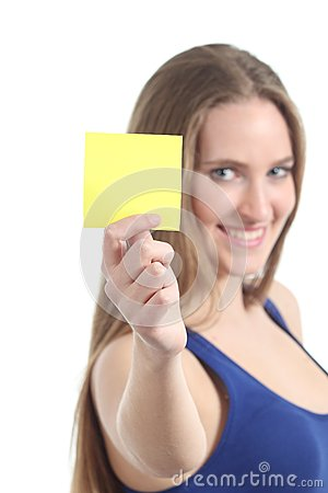 Free Woman Holding And Showing A Blank Yellow Paper Note Royalty Free Stock Image - 30136646