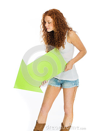 Woman holding an arrow pointing down