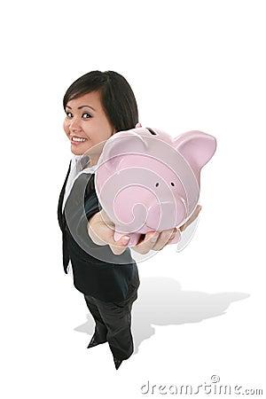 Woman Holding Bank