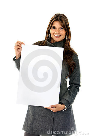 Woman holding a banner