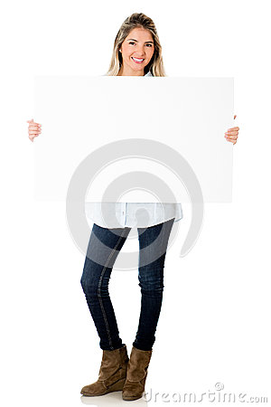 Woman holding banner