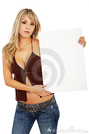 Woman holding a banner add