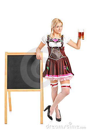 Woman holding a beer glass