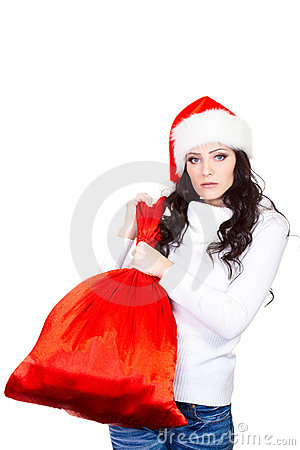 Woman holding big red bag