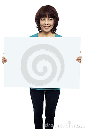Woman holding billboard, your ad here
