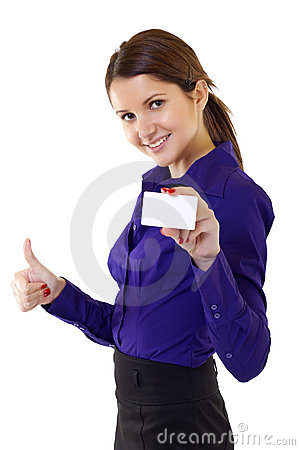 Woman holding blank business card giving thumbs up