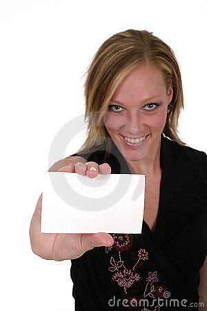 Woman Holding Blank Card 2