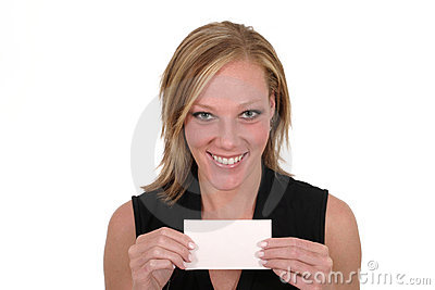 Woman Holding Blank Card 6