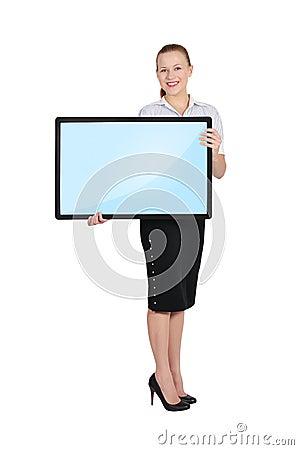 Woman holding blank plasma