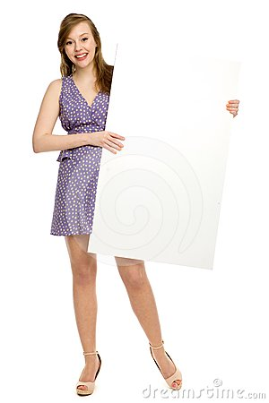 Woman Holding Blank Poster Stock Photos - Image: 24509263