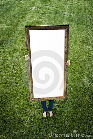 Woman Holding Blank Rectangular Frame