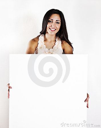 Woman holding a blank white sign