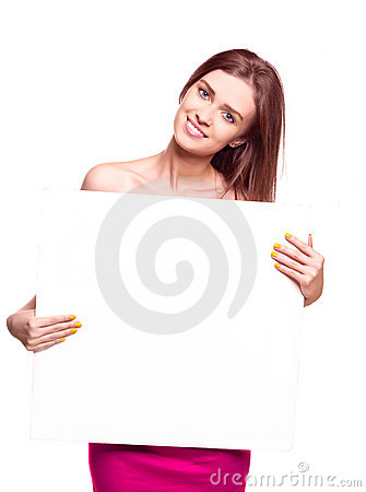Woman holding  board