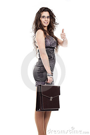 Woman holding a briefcase and making ok sign