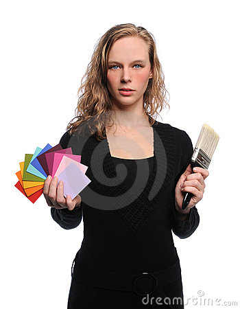 Woman Holding Brush and Color Swatches