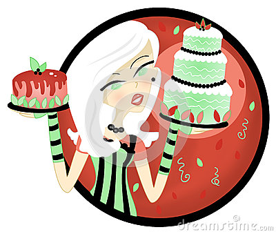 Woman Holding cake Display