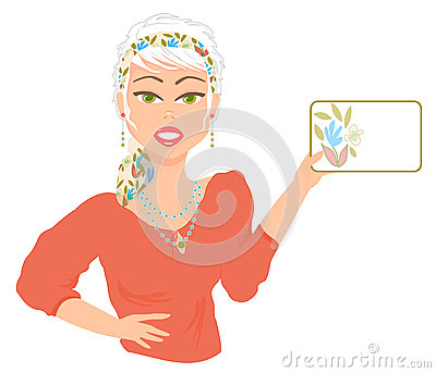Woman Holding Card